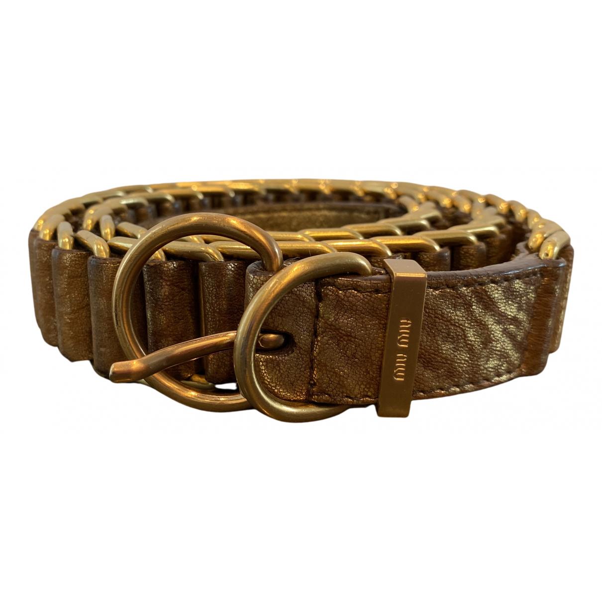Miu Miu N Gold Leather belt for Women 85 cm