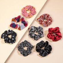 8 piezas goma de pelo con patron floral de margarita de lunares