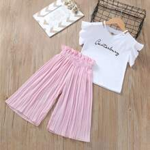 Toddler Girls Letter Graphic Tee & Paperbag Pleated Pants