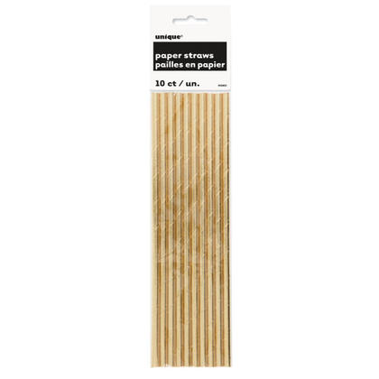 Foil Paper Drinking Straws Party Gold 10Pcs
