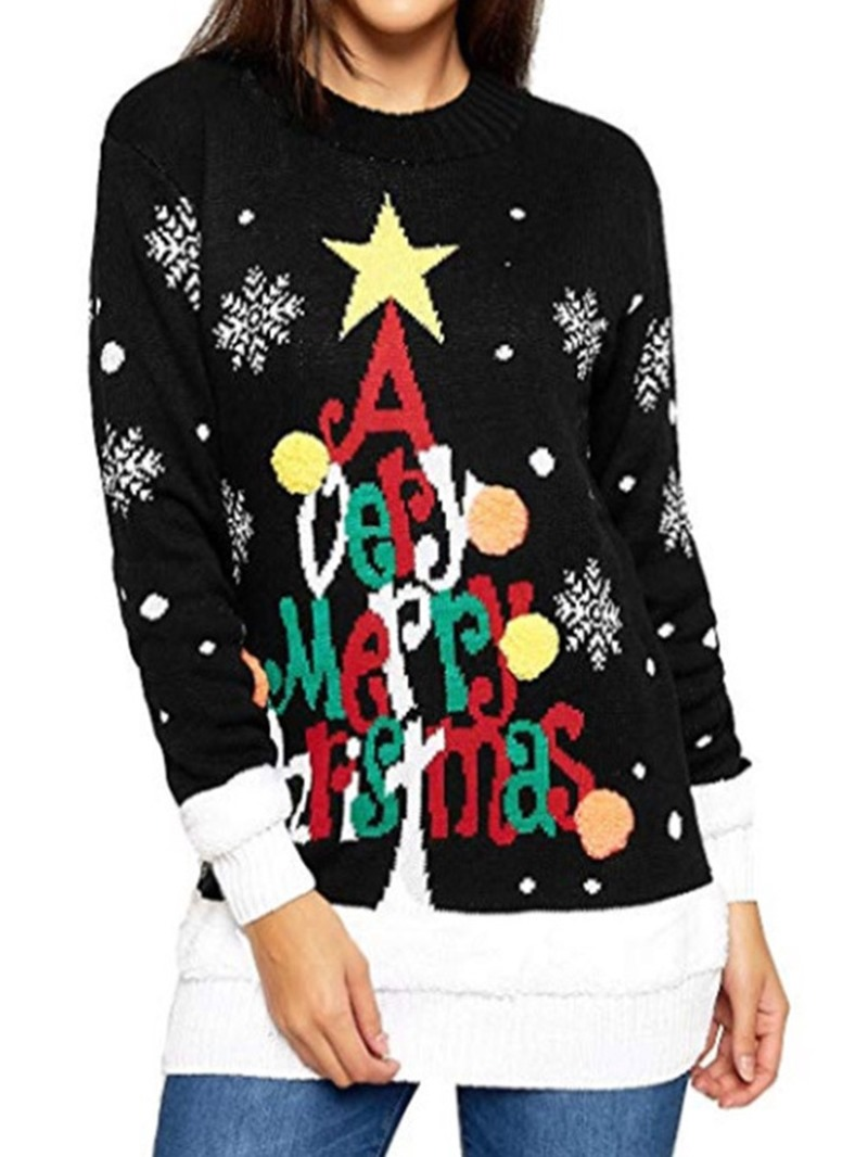 Ericdress Patchwork Winter Mid-Length Christmas Womens Sweater