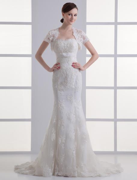 Milanoo Vestido de novia de encaje con escote en corazon de cola larga