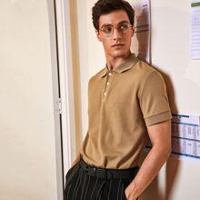 Men Rib-knit Solid Polo Shirt