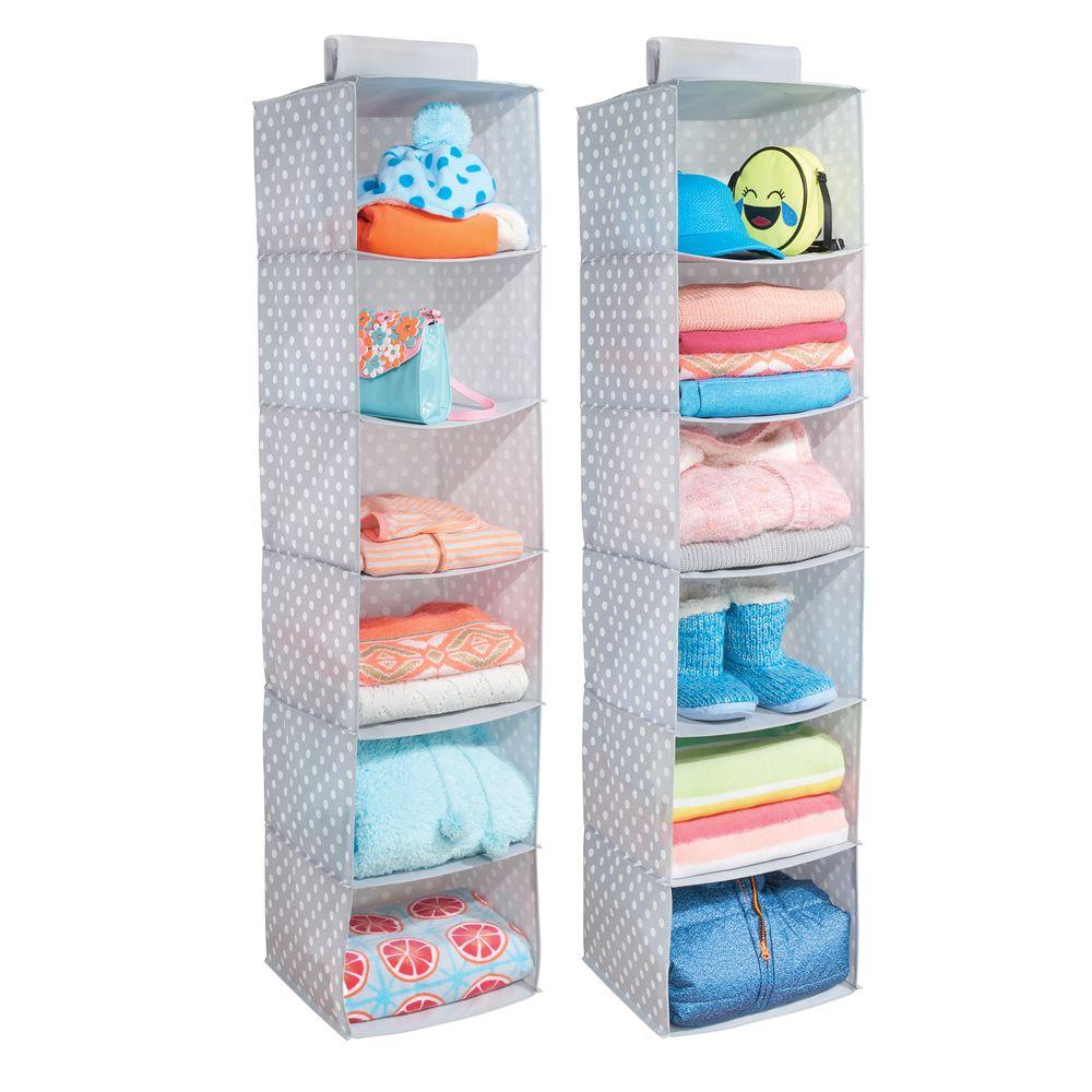 6 Shelf Fabric Kids Hanging Closet Nursery Organizer in Gray/White, 11.75