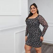 Kleid mit doppelten quadratischem Kragen, Leopard Muster und Netzstoff