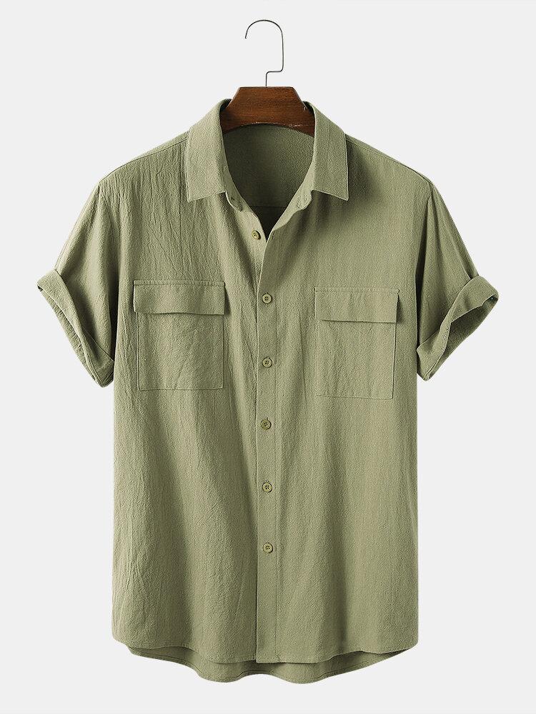 Men 100% Cotton Solid Color Double Pocket Casual Shirt