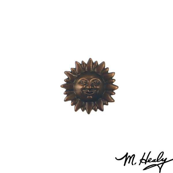 Smiling Sun Face Door Bell Ringer, Oiled Bronze