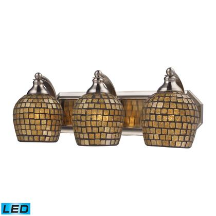570-3N-GLD-LED 3 Light Vanity in Satin Nickel and Gold Mosaic Glass -