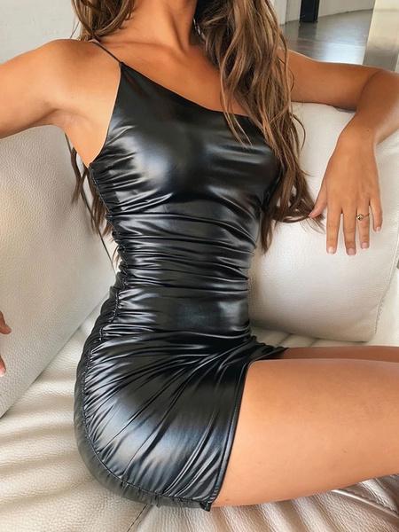 Milanoo Black Club Dress Sexy Cami Dress Sleeveless PU Leather Backless Going Out Dress