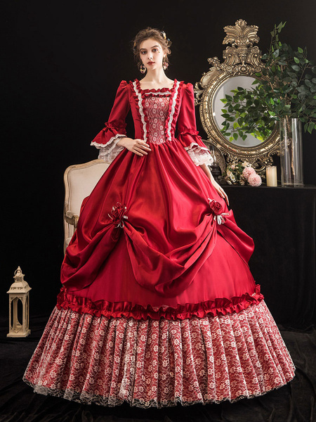 Milanoo Victorian Dress Costumes Women's Red Trumpet Short Sleeves Victorian era Clothing Marie Antoinette Costume Dress Vintage Clothing