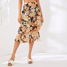 Layered Ruffle Hem Floral Print Skirt