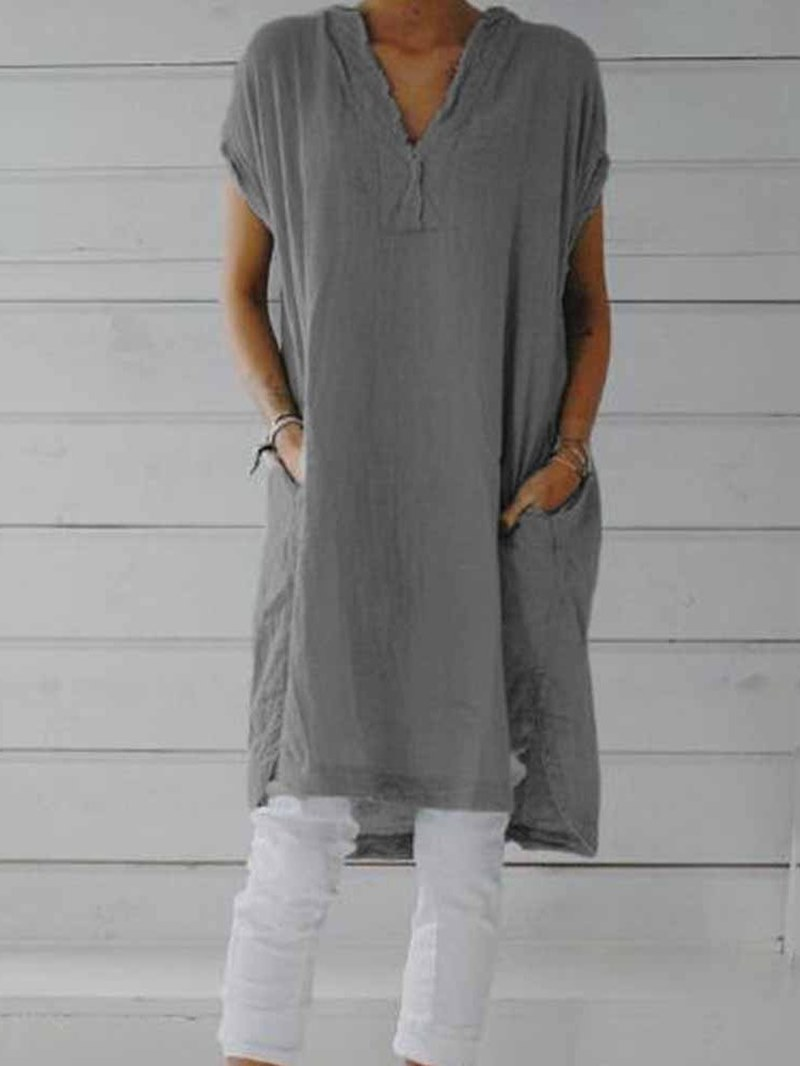 Ericdress Mid-Length Short Sleeve Plain Straight Casual T-Shirt