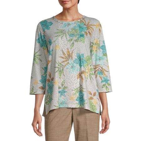Alfred Dunner-Womens Crew Neck 3/4 Sleeve T-Shirt, Medium , Beige