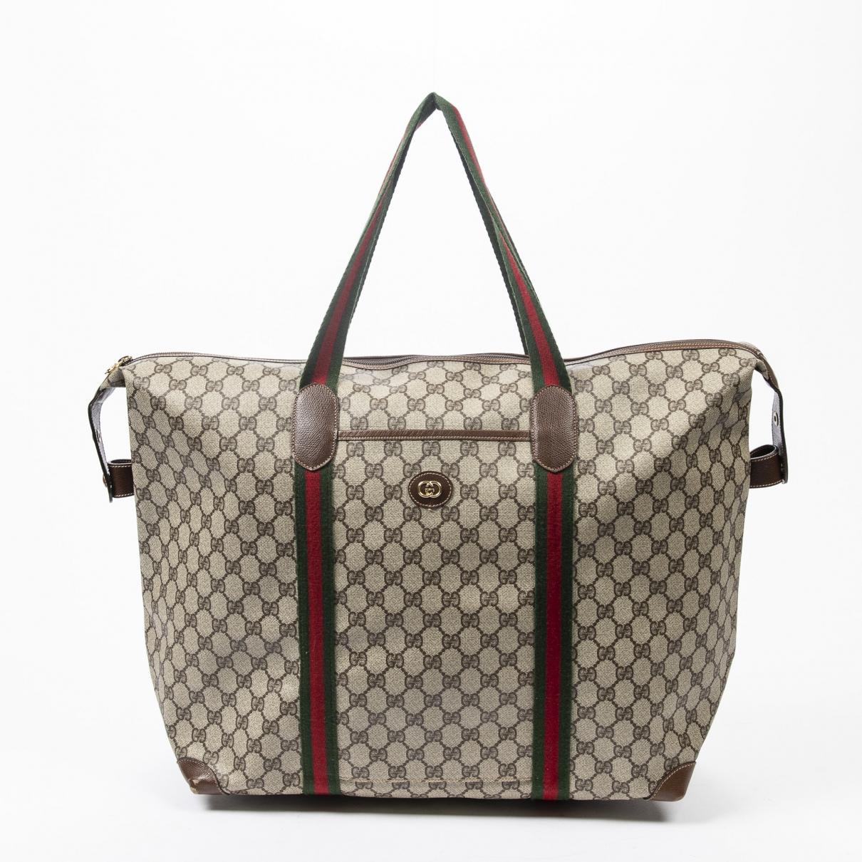 Gucci Boston Reisetasche in  Braun Baumwolle