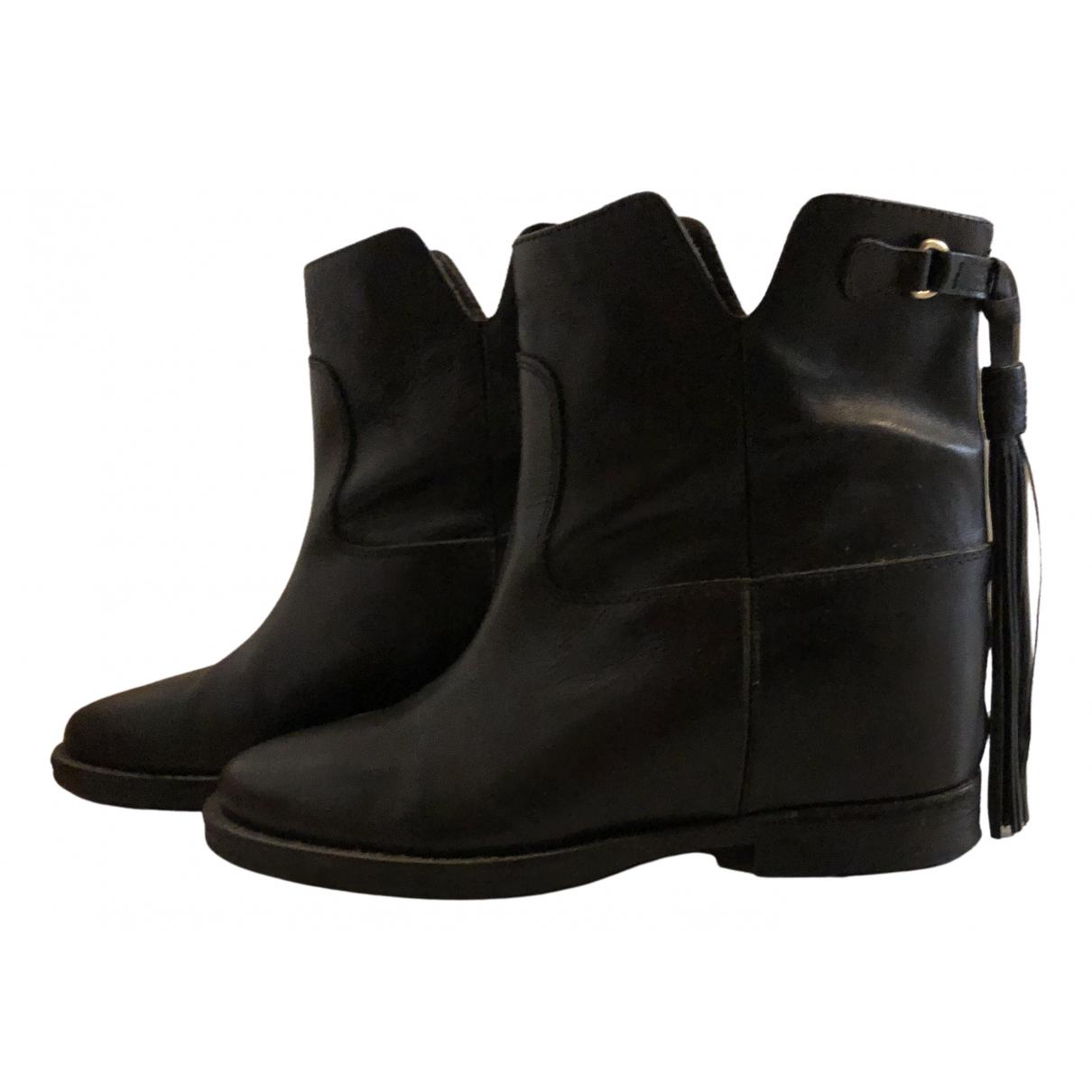 Jucca - Boots   pour femme en cuir - noir