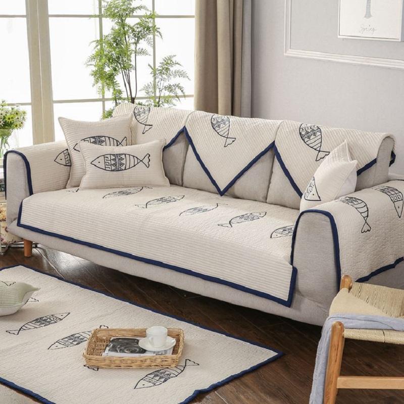 Unique Korean Style Fish Pattern Slip Resistant Washable Sofa Cover