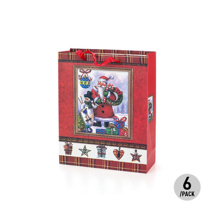 Gift Bag Present Bag Cartoon Santa and Snowman Medium Size 6Pcs - LIVINGbasics™