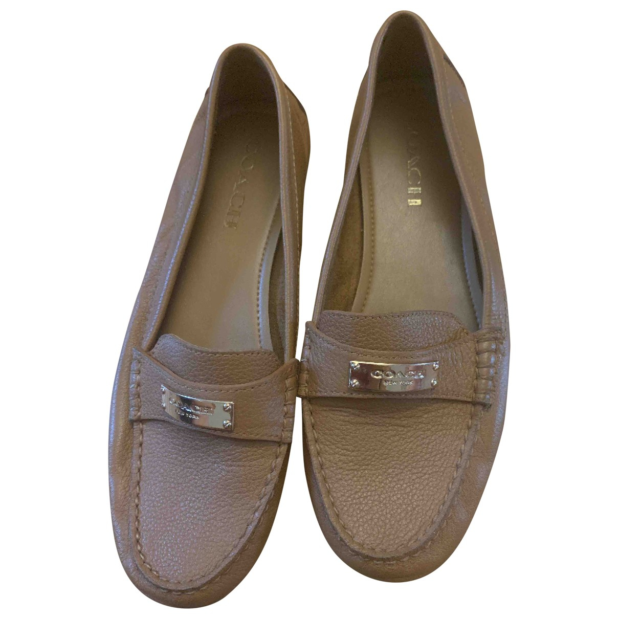 Coach N Camel Leather Flats for Women 38 EU