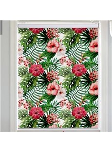 Green Watercolor Palm Leaves and Red Azaleas Printing Flat-Shaped Roman Shades