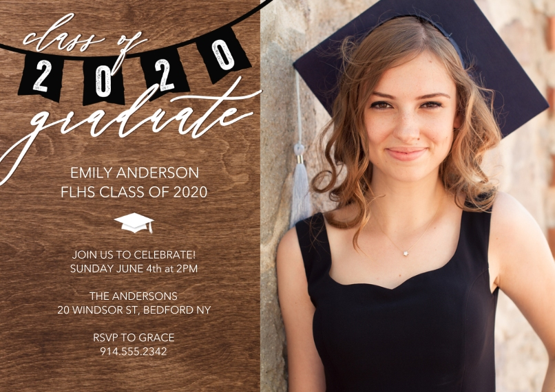 Graduation Invitations 5x7 Cards, Standard Cardstock 85lb, Card & Stationery -Grad Party 2020 Flags by Tumbalina