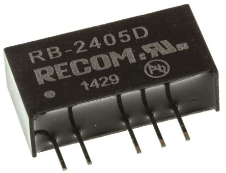 Recom RB 1W Isolated DC-DC Converter Through Hole, Voltage in 21.6 → 26.4 V dc, Voltage out ±5V dc