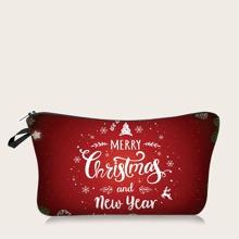 Christmas Letter Graphic Makeup Bag