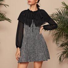 A-Linie Kleid mit Kontrast Netzstoff Ärmeln und Ruesche