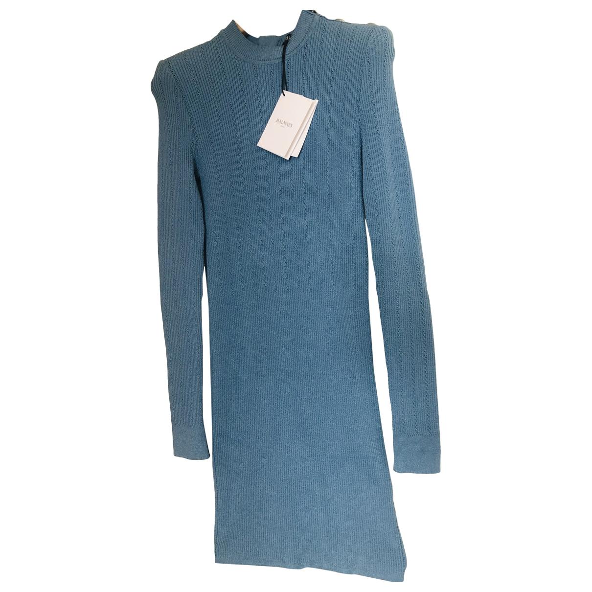 Balmain \N Kleid in  Blau Viskose