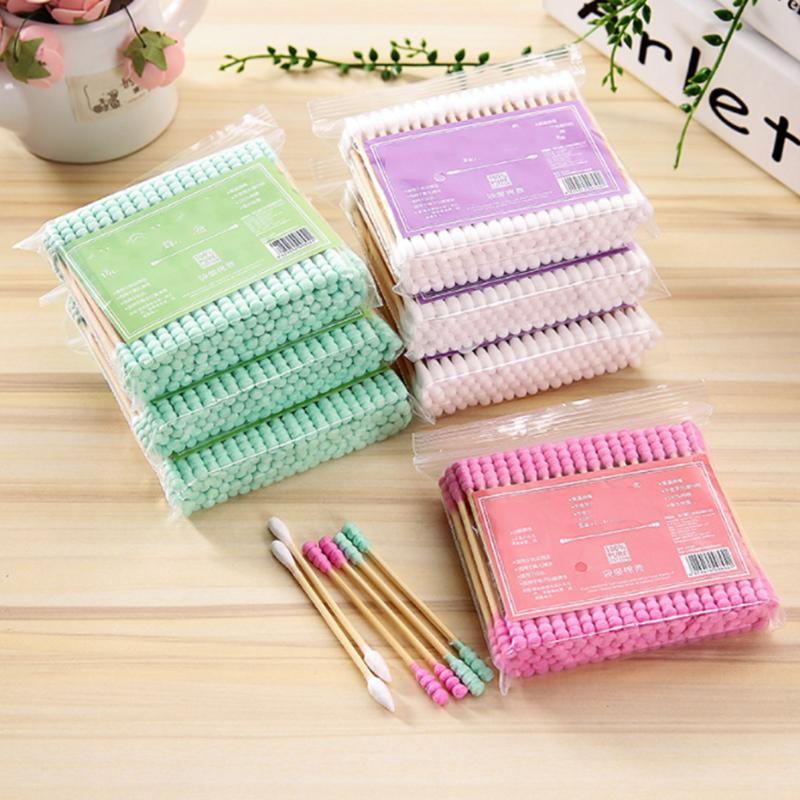 100pcs/ Pack Double Head Cotton Swab Disposable Women Makeup Cotton Buds Tip For Medical