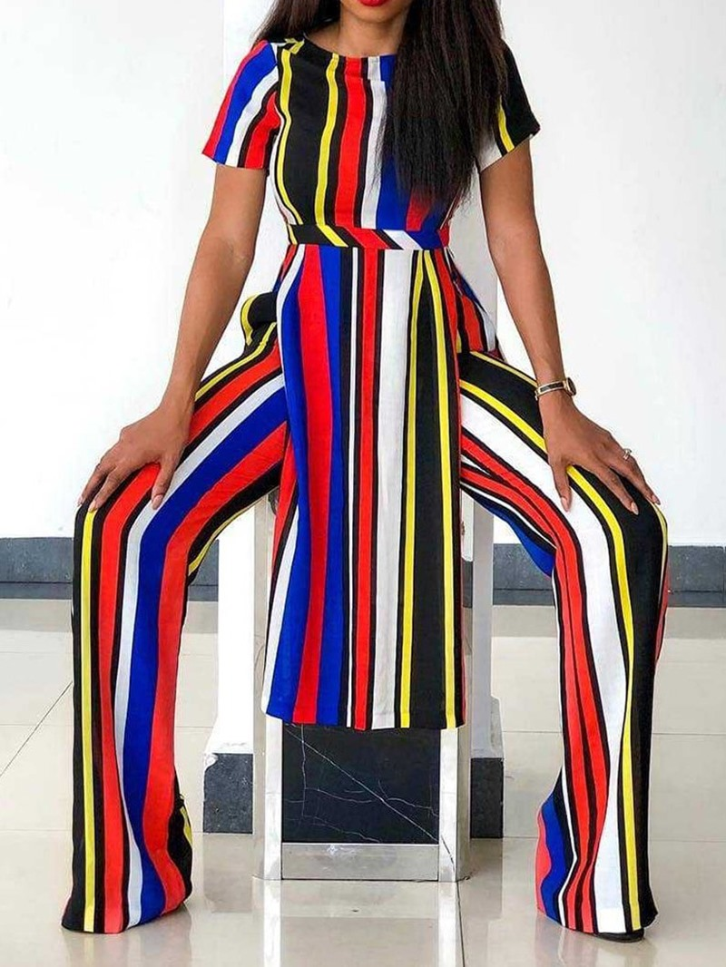 Ericdress Stripe Color Block Print T-Shirt And Pants Two Piece Sets