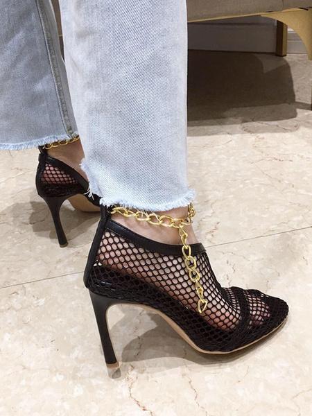 Milanoo High Heel Sandals Apricot Pointed Toe Stiletto Heel Women Shoes