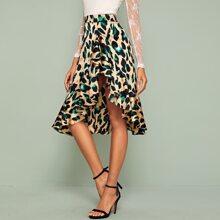 Leopard Print Ruffle Asymmetrical Hem Skirt