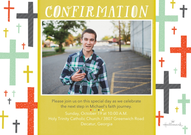 Confirmation 5x7 Cards, Premium Cardstock 120lb with Elegant Corners, Card & Stationery -Confirmation Cross Pattern
