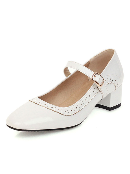 Milanoo Tacones bajos para mujer Mary Jane Vintage Shoes Square Toe Yellow Pumps