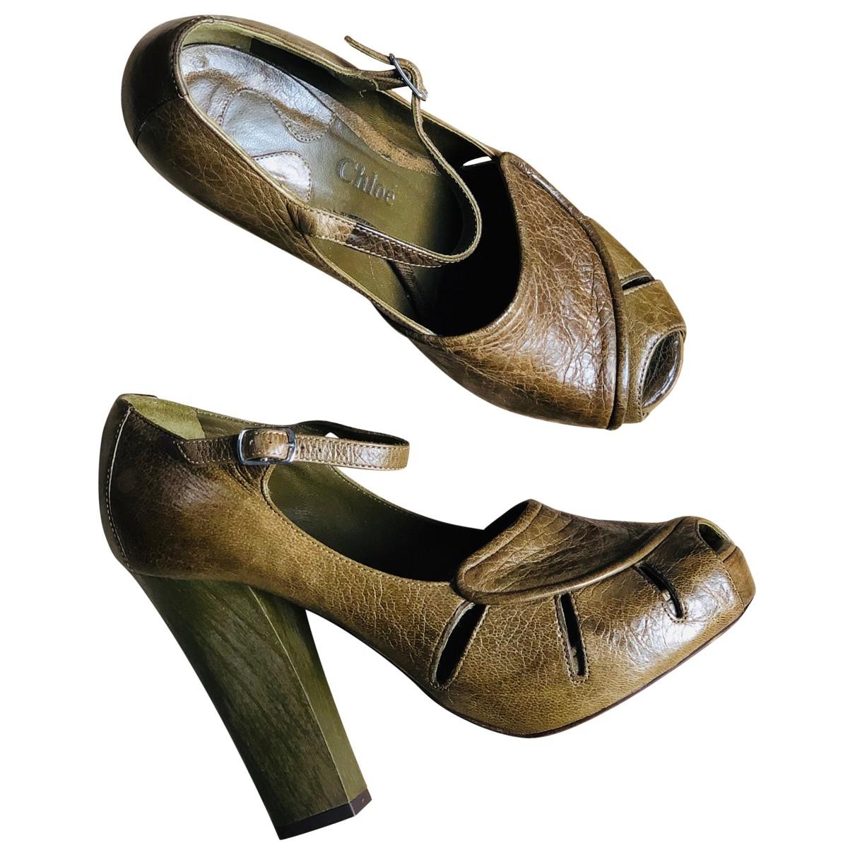 Chloe - Escarpins   pour femme en cuir - kaki