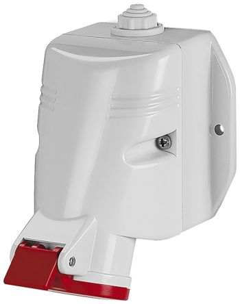 RS PRO IP67 Red Wall Mount 3P+N+E Industrial Power Socket, Rated At 63.0A, 415.0 V