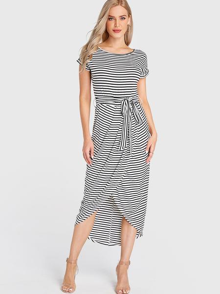 Yoins Multi Stripe Self-tie Slit Hem Short Sleeve Dress