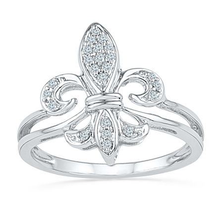 Womens 1/8 CT. T.W. Genuine White Diamond Sterling Silver Cocktail Ring, 8 1/2 , No Color Family