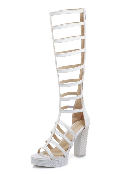 Milanoo Women Gladiator Sandals White Open Toe Strappy Sandal Shoes High Heel Sandals