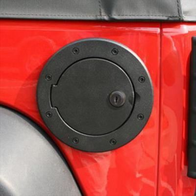 Rugged Ridge Locking Fuel Hatch Cover (Black Aluminum) - 11425.06