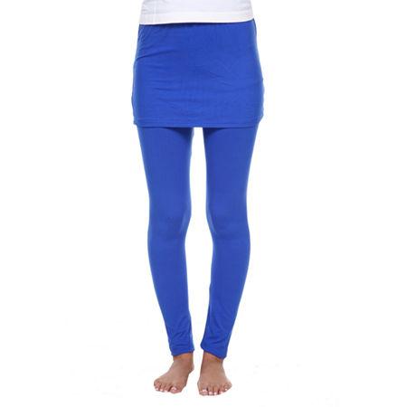 White Mark Skirted Womens Mid Rise Legging, Large , Blue