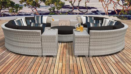 Fairmont Collection FAIRMONT-11b-BLACK 11-Piece Patio Set 11b with 2 Armless Chair   4 Cup Table   1 Round Coffee Table   4 Curved Armless Chair -