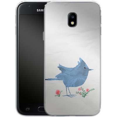 Samsung Galaxy J3 (2017) Silikon Handyhuelle - Watercolour Bird White von caseable Designs