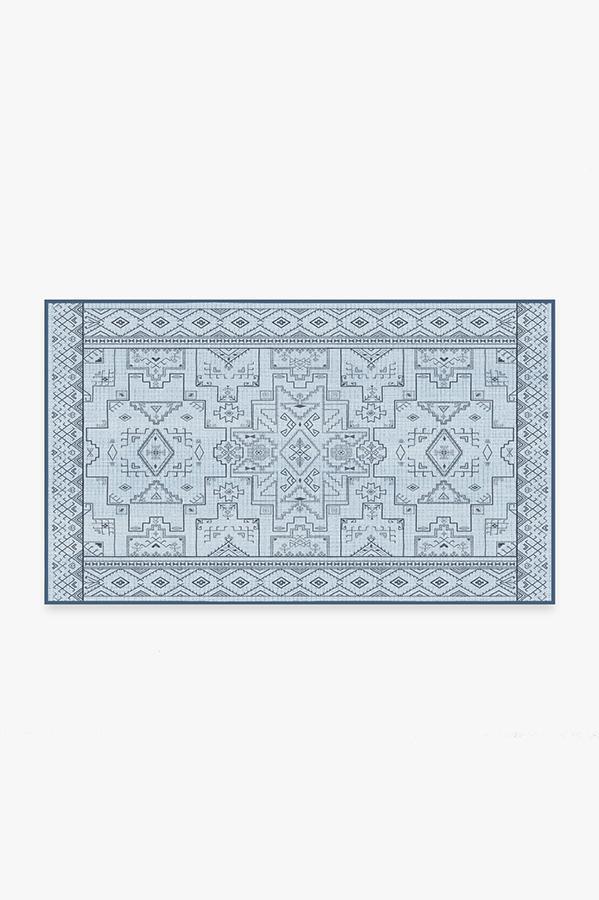 Washable Rug Cover & Pad   Leelu Blue Overdye Rug   Stain-Resistant   Ruggable   3'x5'