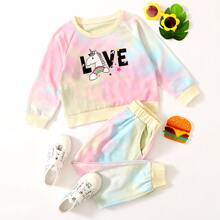 Toddler Girls Cartoon Graphic Sweatshirt With Tie Dye Sweatpants