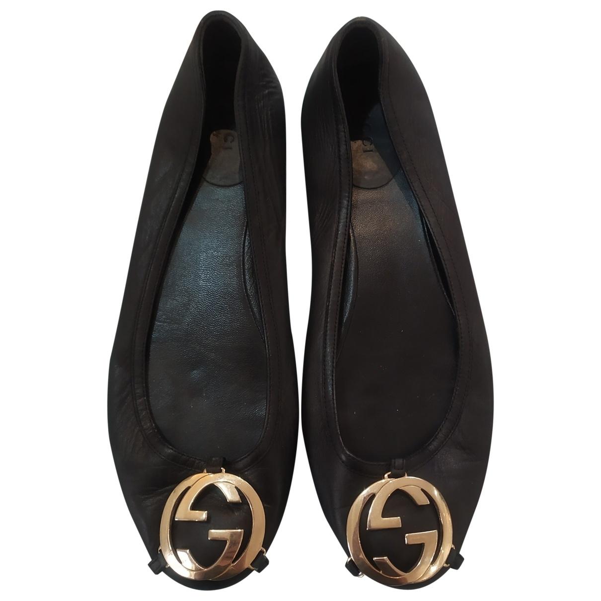 Gucci \N Black Leather Ballet flats for Women 36 EU