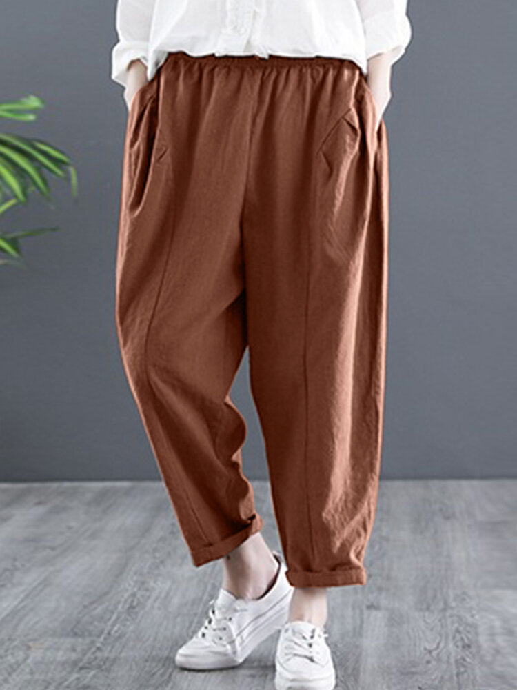 Solid Color Casual Elastic Waist Loose Cotton Harem Pants
