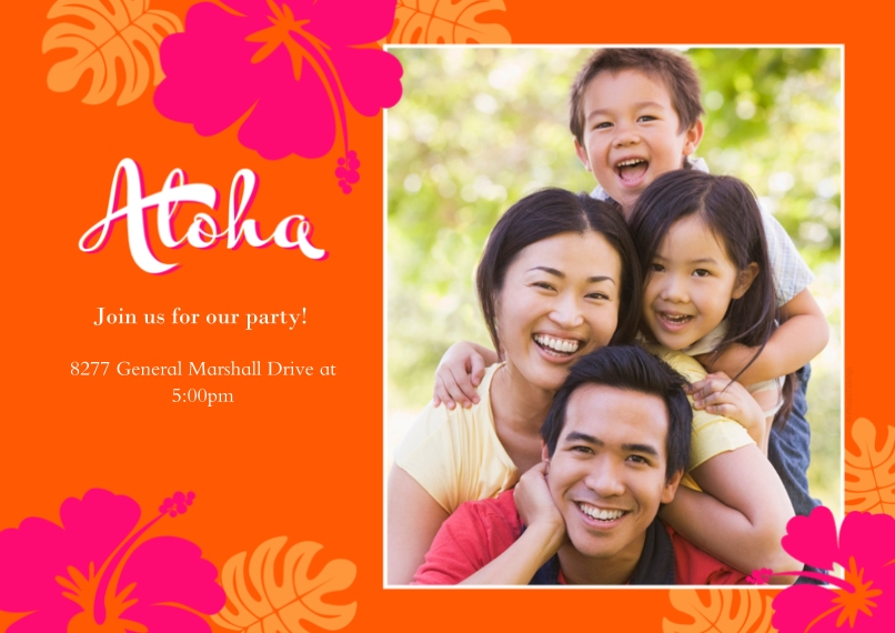Party Invitations 5x7 Cards, Premium Cardstock 120lb with Scalloped Corners, Card & Stationery -Aloha