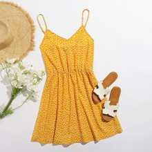 Vestido de tirantes con estampado floral de margarita