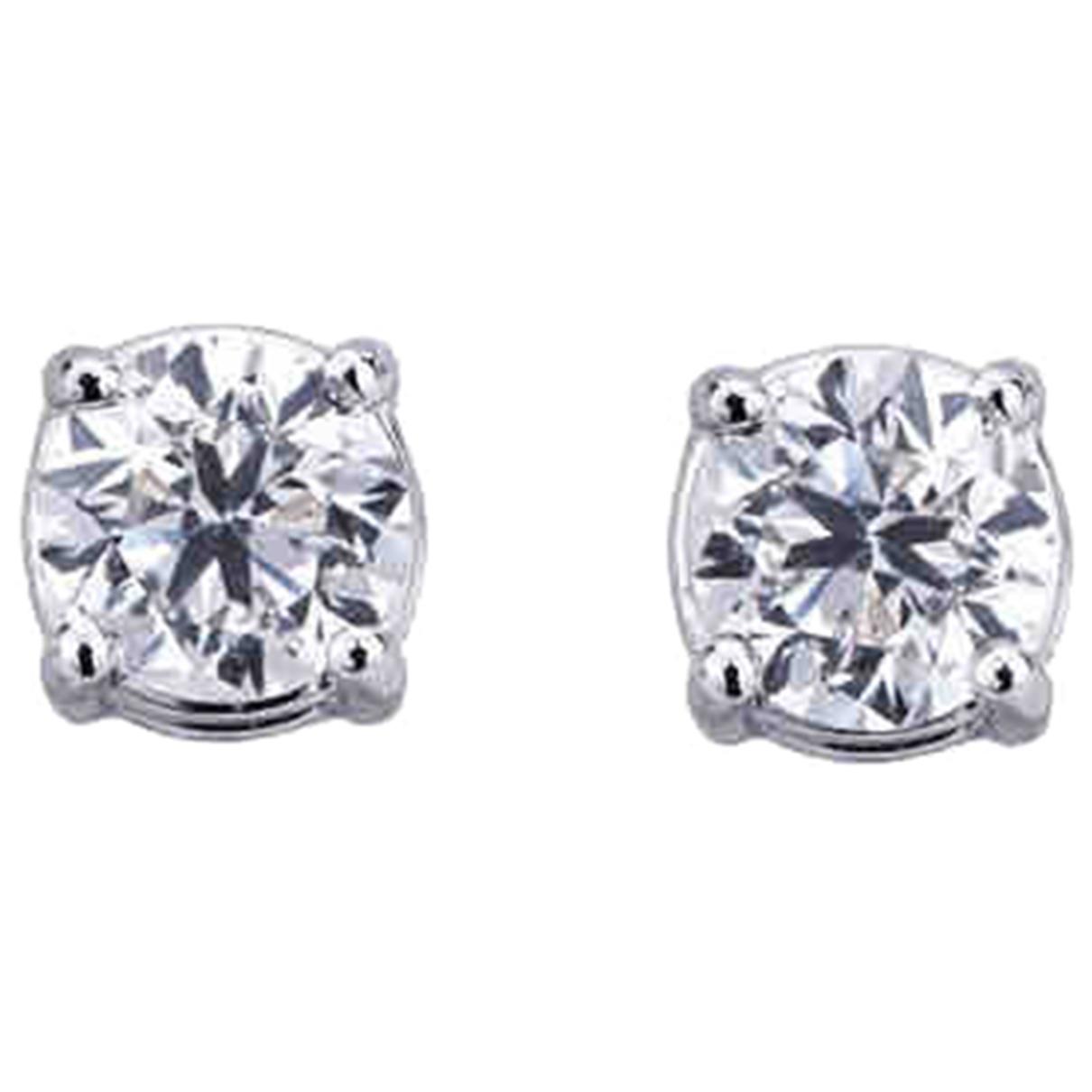 - Boucles doreilles Puces en diamants pour femme en or blanc - argente